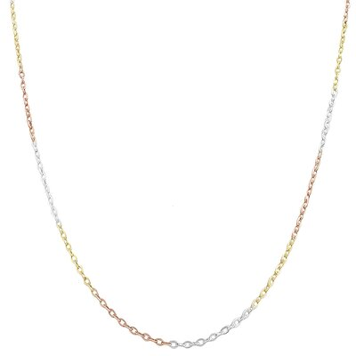 Fremada Tri-color Gold Over Sterling Silver Flat Cable Chain - Size: 20