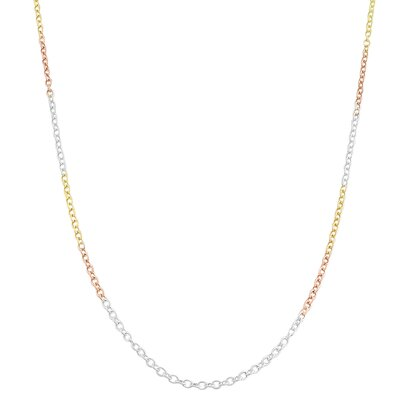 Fremada Tri-color Gold over Sterling Silver Round Cable Chain - Size: 20