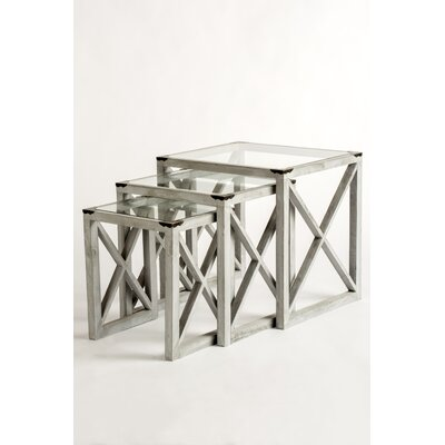 Emma 3 Piece Nesting Tables Color: Silver