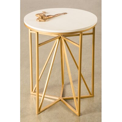 Athena End Table Top / Base Color: White / Gold