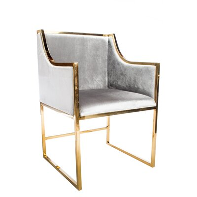 Erin Upholstered Dining Chair (Set of 2) Color: Gold
