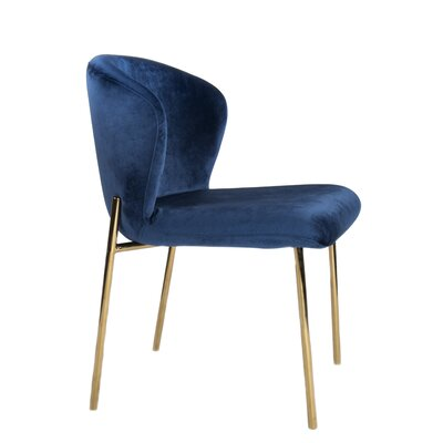 Clarisa Upholstered Dining Chair (Set of 2) Color: Navy Blue