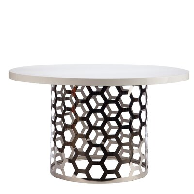 Laguna Dining Table Color: Silver/White