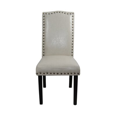 Castilian Leather Upholstered Dining Chair Upholstery: Off White