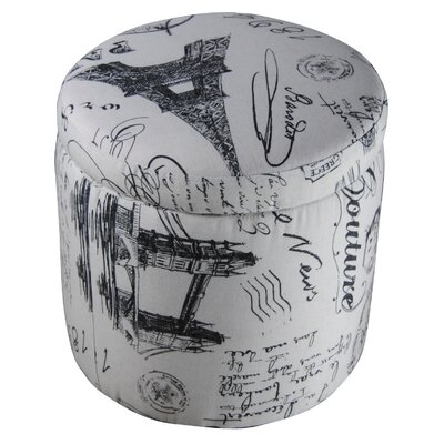 Paris Vintage French Writing Storage Ottoman
