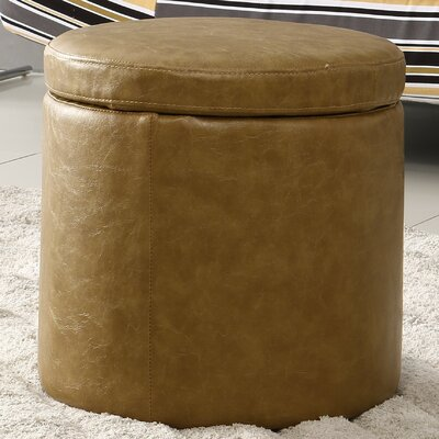 Castillian Storage Leather Ottoman Upholstery: Khaki