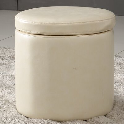 Castillian Storage Leather Ottoman Upholstery: Creamy White