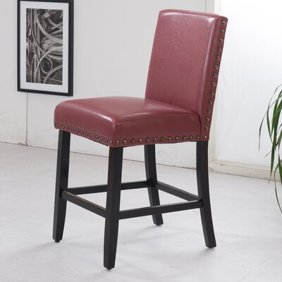 Luxury 24 inch Bar Stool Upholstery: Dark Red