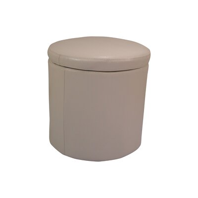 Classic Round Storage Leather Ottoman Upholstery: Beige