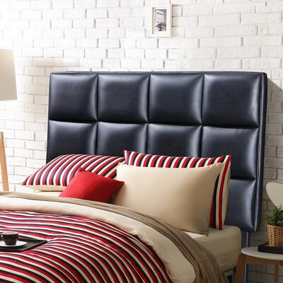 Twin Upholstered Panel Headboard Upholstery: Black
