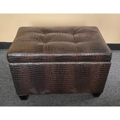 Classic Crocodile Storage Ottoman Upholstery: Brown