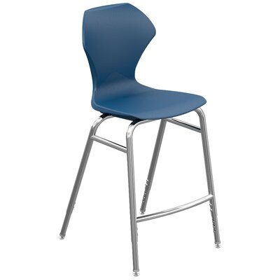 Apex Series Barstool Color: Navy, Frame Color: Chrome