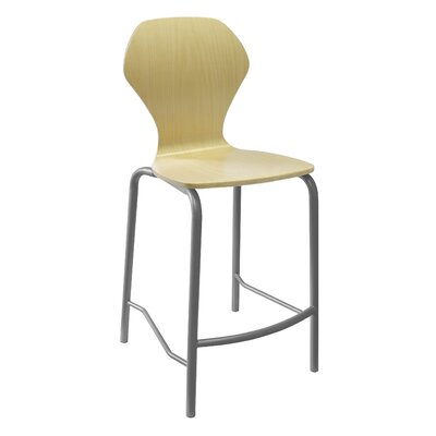 Apex Series Bar Stool Finish: Gray Powdercoat, Upholstery: Natural