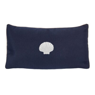 Mirabal Scallop Beach Outdoor Sunbrella Lumbar Pillow Color: Navy