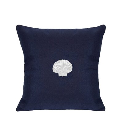 Scallop Indoor/Outdoor Sunbrella Throw Pillow Size: 18 H x 18 W, Color: Navy
