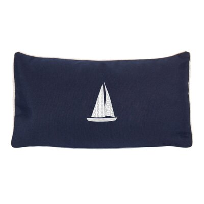 Hampden Sailboat Beach Outdoor Sunbrella Lumbar Throw Pillow Color: Navy
