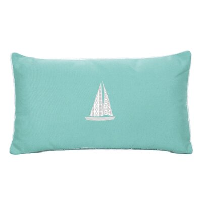 Hampden Sailboat Beach Outdoor Sunbrella Lumbar Throw Pillow Color: Glacier Blue