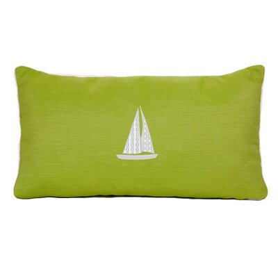 Sailboat Beach Outdoor Sunbrella Lumbar Throw Pillow Color: Parrot Green