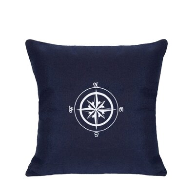 Embroidered Compass Rose Indoor/Outdoor Sunbrella Throw Pillow Color: Navy