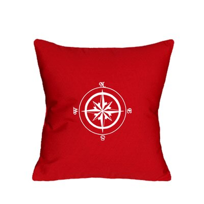 Embroidered Compass Rose Indoor/Outdoor Sunbrella Throw Pillow Color: Red