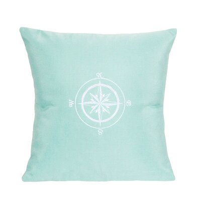 Embroidered Compass Rose Indoor/Outdoor Sunbrella Throw Pillow Color: Glacier Blue