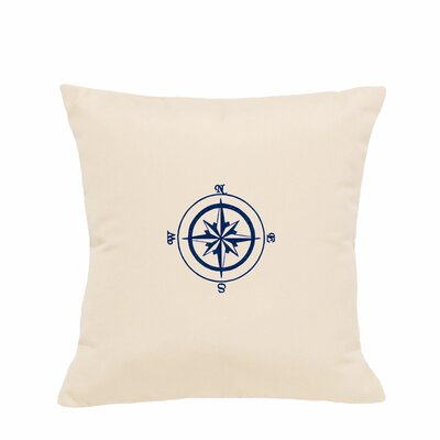 Embroidered Compass Rose Indoor/Outdoor Sunbrella Throw Pillow Color: Pale Cream