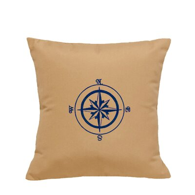 Embroidered Compass Rose Indoor/Outdoor Sunbrella Throw Pillow Color: Wet Sand