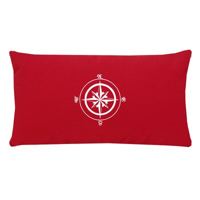 Compass Rose Indoor/Outdoor Sunbrella Lumbar Pillow Color: Red