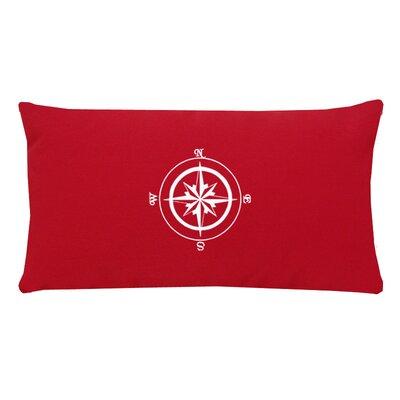 Compass Rose Indoor/Outdoor Sunbrella Lumbar Pillow Color: Red