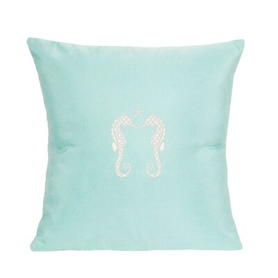 Embroidered Seahorses and Starfish Indoor/Outdoor Sunbrella Throw Pillow Color: Glacier Blue