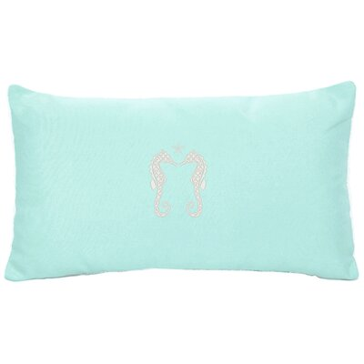 Embroidered Seahorses and Starfish Indoor/Outdoor Sunbrella Lumbar Pillow Color: Glacier Blue