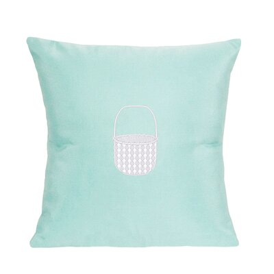 Embroidered Basket Indoor/Outdoor Sunbrella Throw Pillow Color: Glacier Blue