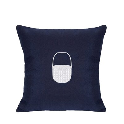Embroidered Basket Indoor/Outdoor Sunbrella Throw Pillow Color: Navy Blue