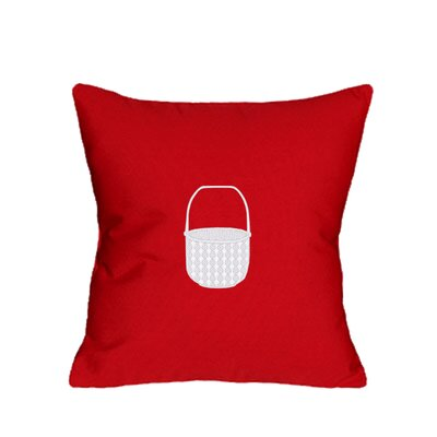 Embroidered Basket Indoor/Outdoor Sunbrella Throw Pillow Color: Red