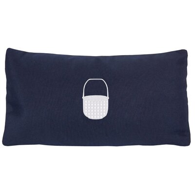 Embroidered Basket Indoor/Outdoor Sunbrella Lumbar Pillow Color: Navy