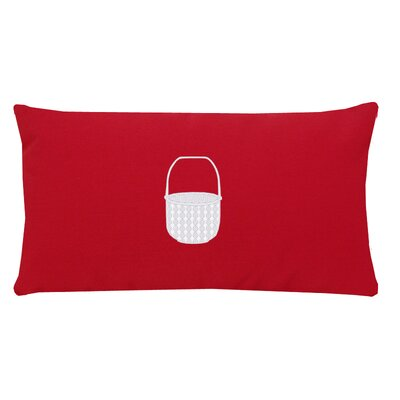 Embroidered Basket Indoor/Outdoor Sunbrella Lumbar Pillow Color: Red