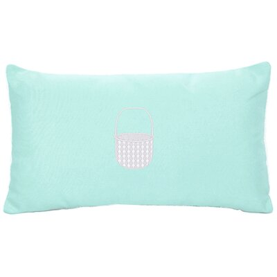 Embroidered Basket Indoor/Outdoor Sunbrella Lumbar Pillow Color: Glacier Blue
