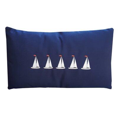 5 Sailboats Coastal Lumbar Pillow Color: Navy