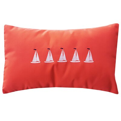 5 Sailboats Coastal Lumbar Pillow Color: Melon