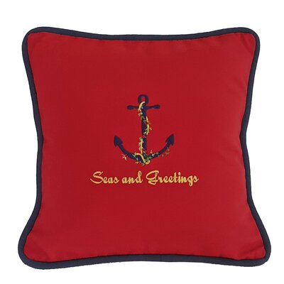 Coastal Sunbrella Seas and Greetings Throw Pillow Size: 14 H x 14 W x 2.5 D