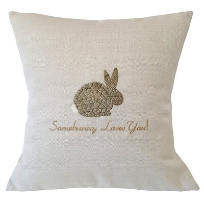 Somebunny Loves You Linen Throw Pillow Color: Brown