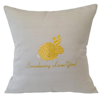 Somebunny Loves You Linen Throw Pillow Color: Yellow