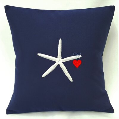 Valentines Starfish and Heart Throw Pillow