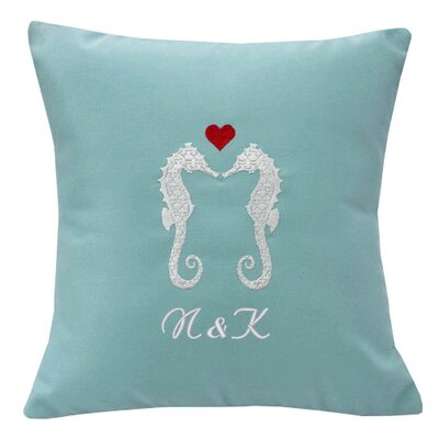 Valentines Seahorses Personalized Indoor/Outdoor Throw Pillow