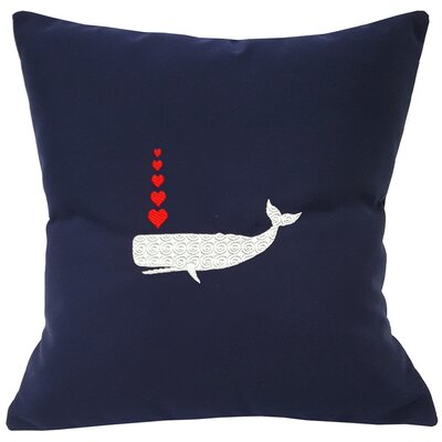 Valentines Whale and Hearts Sunbrella Throw Pillow