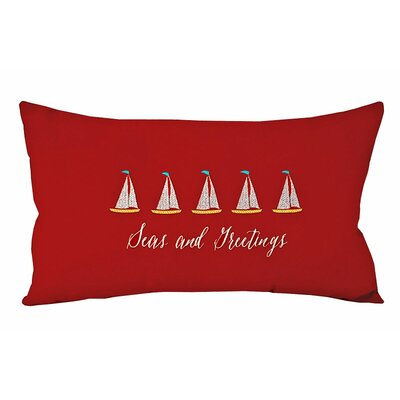 Wolak Seas and Greetings Sailboats Lumbar Pillow Color: Red