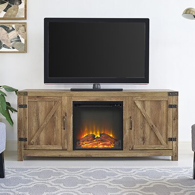 Adalberto 58 TV Stand with Optional Fireplace Color: White Oak, Fireplace Included: Yes