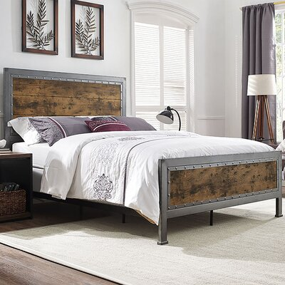Berta Industrial Queen Bed Color: Brown