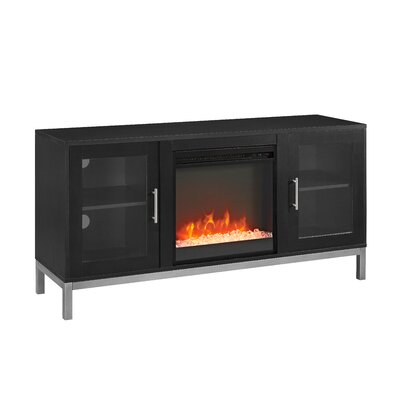 Depp Wood 52 TV Stand with Optional Fireplace Color: Black, Fireplace Included: Yes