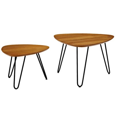 Hentges Hairpin Leg Wood 2 Piece Coffee Table Set